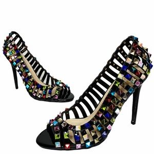 Vigo Fiore | Black Patent Multicolor Studded Heels